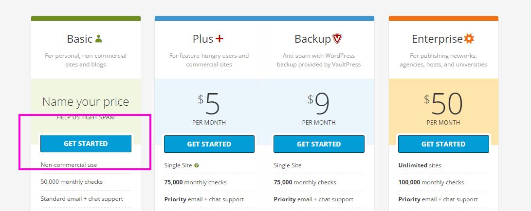 Akismet の料金プラン選択画面