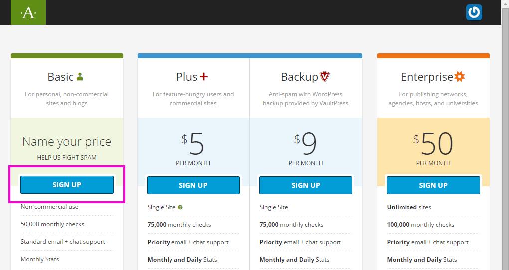 Akismet のプラン選択画面