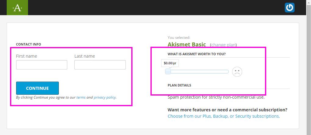 Akismet の支払い登録画面